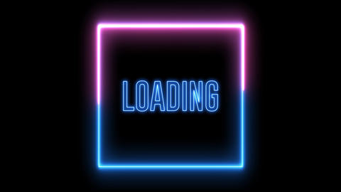 "Neon loading square. Red and blue neon light with ""LOADING"" text Animation"