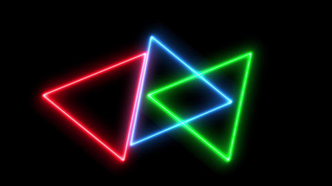 Abstract neon colorful triangles are rotating together background Animation