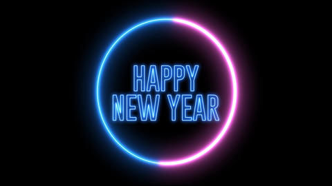 "New Year greeting with neon light. Colorful neon, led lights text of ""Happy New Year"" Animation"