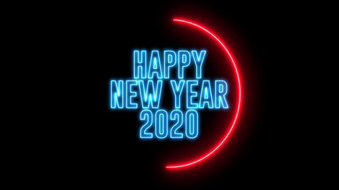 New Year greeting with neon light. Colorful neon, led... Stock Video Footage