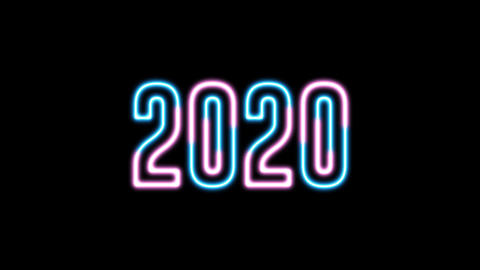 "New Year greeting with neon light. Colorful neon, led lights text of ""2020"" Footage"