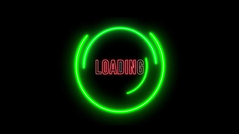 Creative neon loading circles. Colorful abstract light, bar of loading, HUD Animation