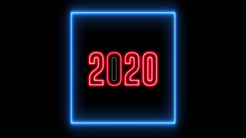 "New Year greeting with neon light. Colorful neon, led lights text of ""2020"" Animation"
