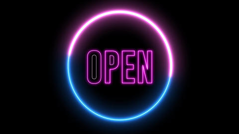 "text of ""OPEN"" with neon light loop animation. Abstract creative object Animation"