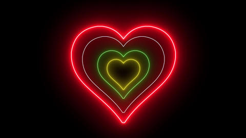 Heart with neon, glowing lights. Romantic and love symbol, creative abstract light Animation