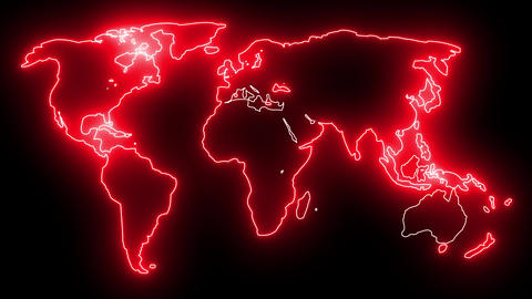 Neon World Map Outline. Futuristic animation, creative glowing lights outline of planet Earth Animation