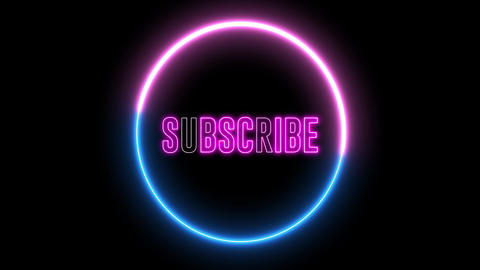 """Text of """"SUBSCRIBE"""" inside neon colorful circle. Social media animation Animation"""