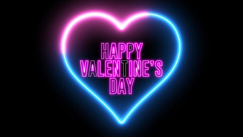 """Neon text of """"Happy Valentine's Day"""" inside colorful heart. Creative animation for couple, Animation"""