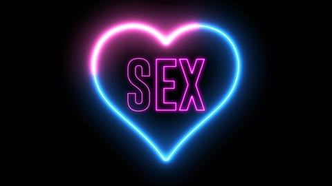 "Neon text of ""SEX"" inside colorful heart Animation"