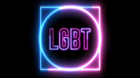 "Neon text of ""LGBT"" inside neon shapes. Concept of lesbian, gay, bisexual, transsexual Animation"