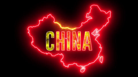 China map outline with neon light. Creative animation Chinese country with beautiful bulb Animation