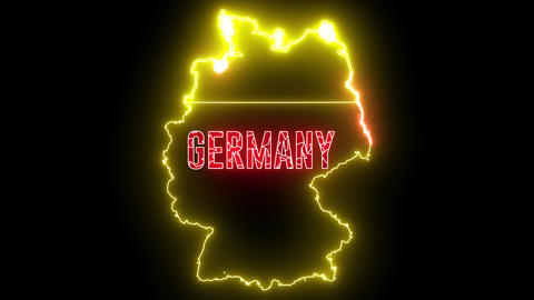Germany map with neon light. Creative design of German country with beautiful light Animation