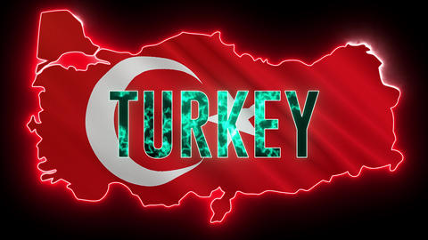 Turkey map with neon light. Creative country shape with technology lights and Turkey flag Animation