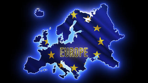 Neon map of Europe continent. Shinny abstract light of outline European with Europa Union flag Animation