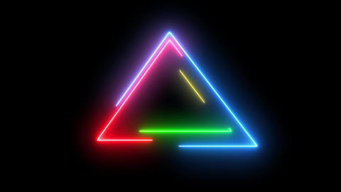 Neon colorful triangle HUD object. Swirling lines and shape of triangle with glowing neon light Animation