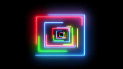 Square retro HUD with neon glowing light. Abstract creative swirling shape of square with beautiful Animation