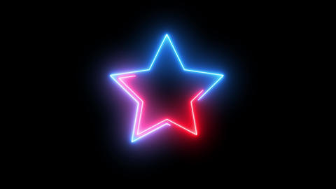 Isolated neon abstract star. Creative glowing shiny disco lights on shape on Star Animation