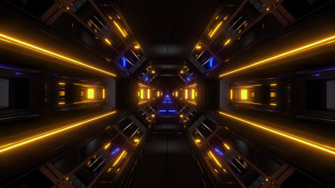 dark space sci-fi tunnel airship corridor fly through vj loop 3d illustration vj Animation