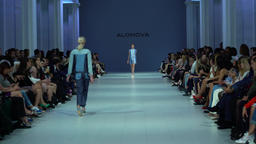 Fashion show. Model on the catwalk. Woman. Girl. Female. Models Footage