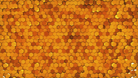 Gold Hexagon Geometric Surface Background Footage