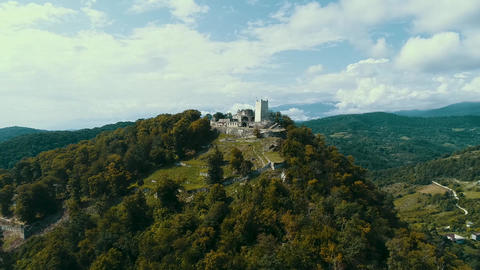 Aerial View Of The Fortress Anakopia And The Iberian Mountain Abkhazia Live Action