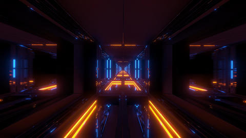 futuristic sci-fi temple tunnel with nice reflection background 3d rendering Animation