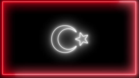 Neon Turkey flag, Red and white colored neon, led light of Turkish flag Animation