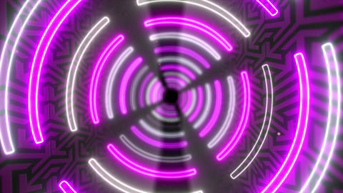 Abstract creative neon, led tunnel with round, circular shapes. Futuristic floor, hall, stage with Videos animados