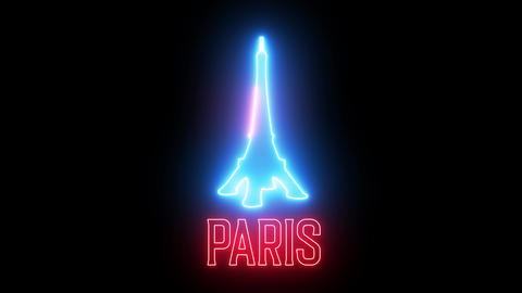 "Neon light of text ""PARIS"" and symbol of France Eiffel Tower. Creative glowing light and sign of Animation"