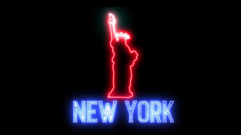 Neon sign of New York and Statue of Liberty. Creative glowing led light and symbol of USA Animation