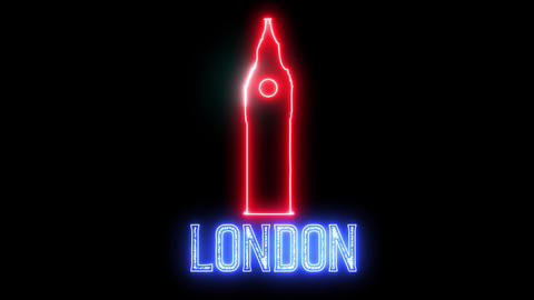 "Neon light text of ""LONDON"" and neon silhouette English famous clock tower Big Ben Animation"