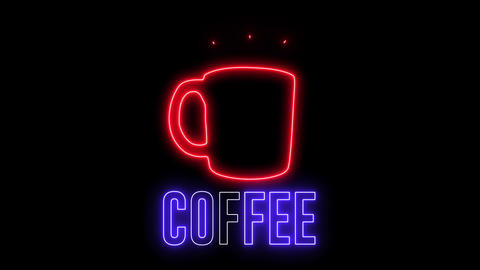 "Neon sign of a cup of hot coffee and text ""COFFEE"". Glowing creative light and drink espresso, latte Animation"
