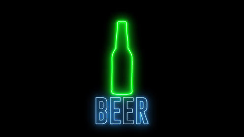 "Neon light of a bottle beer and text of ""BEER"". Concept of drinking alchol, bar or club signboard. Animation"
