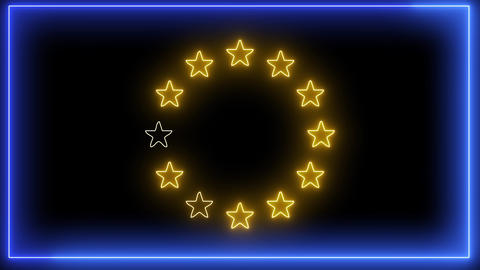 Neon Europa Union flag. Blue EU symbol with yellow stars Animation