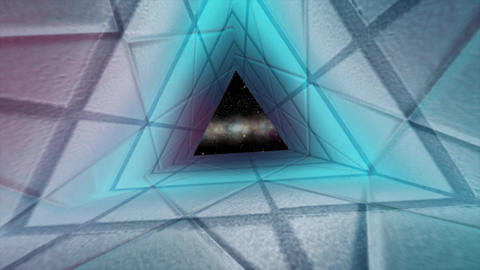 Abstract triangle cosmos tunnel. Science concept, cyan colored wall space journey, triangular road Animation