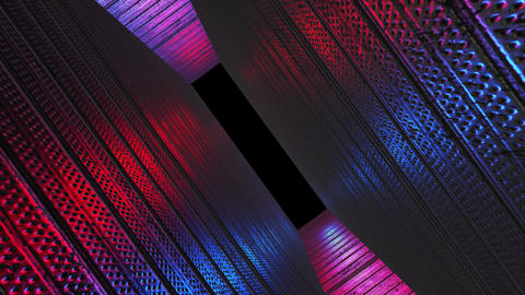 Red blue tunnel, abstract dark technology way. Modern creativity, alpha channel end of the tunnel Animation