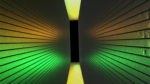 Futuristic neon yellow, green tunnel. Abstract creative 3D rendering, modern dirty walls and space Animation