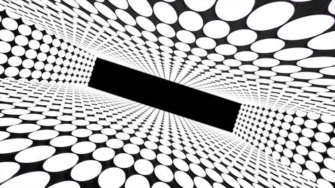 Abstract creative tunnel with dots. Geometric design, swirling, rotating camera and alpha channel Animation