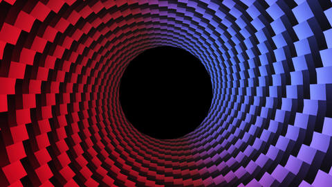 Abstract dots, optical illusion. Hypnotic 3D rendering, circular design rotating. Alpha channel end Animation