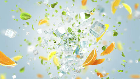 Exploding frosted ice cube with fruits and leafs in 4K Animation