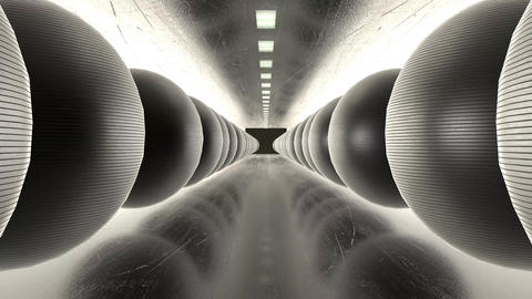 Abstract creative modern art tunnel with iron spheres. Reflective ground and balls in cyberpunk Animation