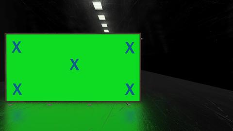 Dark, black futuristic metal corridor and blank green screen alpha channel billboard with tracking Animation