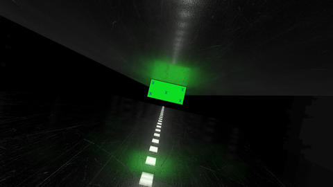 Dark, black futuristic metal corridor and blank green... Stock Video Footage