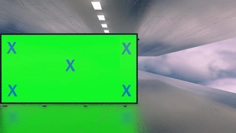 Video mock up of green screen billboard futuristic plane tunnel between clouds. Space, technology Animation