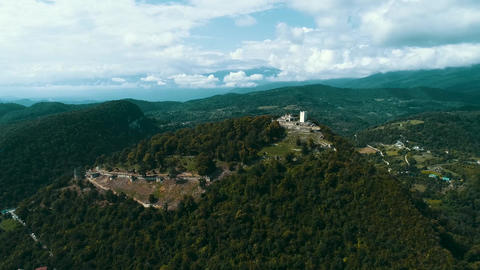 Beautiful aerial view of the Fortress Anakopia And the Iberian Mountain Abkhazia Live Action