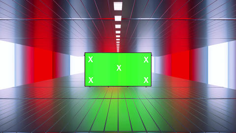 Blank billboard mock up in futuristic, red and blue ambient indoor. Green screen and tracking Animation