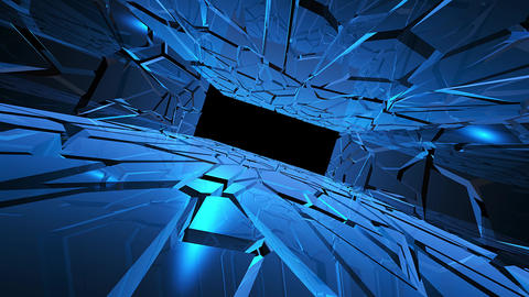 Abstract creative ice tunnel with mirror wall. Cold, frozen futuristic stage with blue light and Animation