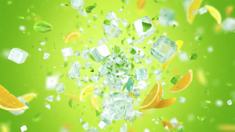 Exploding frosted ice cube with fruits and leafs in 4K, Stock Animation