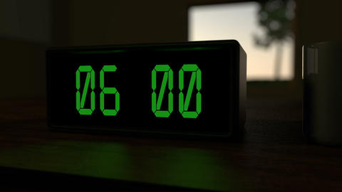 Alarm clock at 6:00 a.m Animation