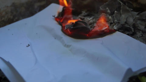 Burning Piece of Paper Footage